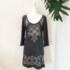 Boston Proper Gray Long Sleeve Embriodered Dress